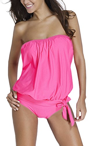 OLIPHEE Damen Zweiteilig Bandeau Tankini Bandeanzüge Trägerloses Verband Bodysuit Bademode mit Slips Pink S