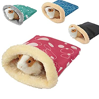 POPETPOP Guinea Pig Bedding-Hedgehog Snuggle Sack Rat House Bed Winter Warm Fleece Small Pet Syrian Hamster Chinchilla Bed House Cage Nest Random Color-Large by POPETPOP
