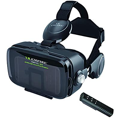 VR Headset for iPhone/Android Phone with 120° FOV, 3.5mm Audio Wireless Adaptor, Anti-Blue-Light Lenses, Fits for All Mobile's Length/Display Size Up to 6.7/7.2 inches. (BB)