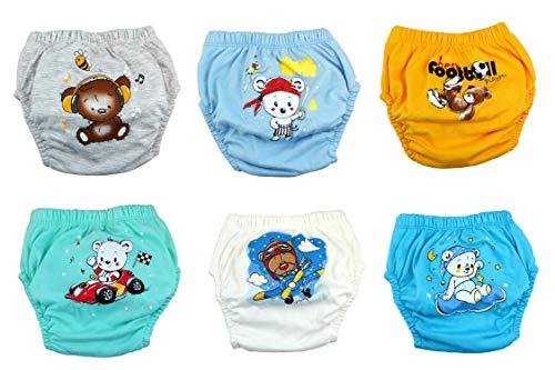 Ozyol - Juego de 6 pantalones de entrenamiento para aprender a ir al baño, reutilizables, pañales, para niños pequeños, ropa interior para aprender a ir al baño Oso para niños. 100 cm