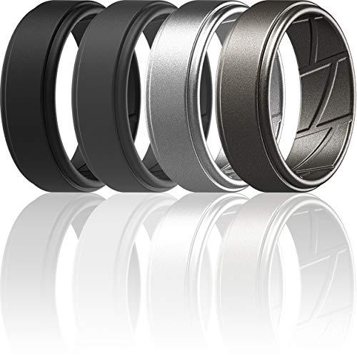ThunderFit Silicone Wedding Ring for Men (Black, Dark Grey, Silver, Brass, 11.5-12 (21.3mm))