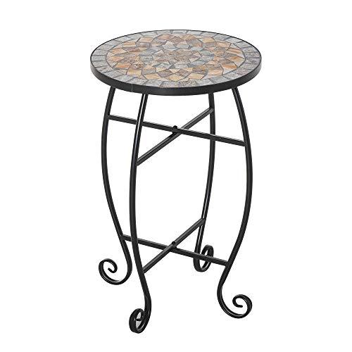 Outsunny Tavolino da Giardino, Tavolo da Esterno in Metallo Nero e Ceramica, Verde e Arancione Ф36 x 58cm