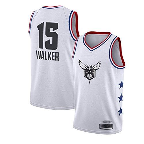 XIAOHAI Jerseys de la NBA de los Hombres - Charlotte Hornets # 15 Kemba Walker Fresco Fresco Transpirable Tela Resistente al Desgaste Transpirable Vintage Basketball Jerseys Top Camiseta,Blanco,XL