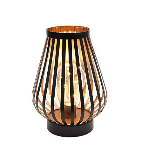 Metal Cage LED Lantern Battery Powered,8.7in Cordless Accent Light with LED Edsion Style Bulb.Great for Weddings, Parties, Patio,Events for Indoors/Outdoors