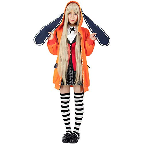 Cosplay Exquisito Runa Yomozuki sudadera con capucha naranja orejas de conejo kakegurui uniforme anime trajes de abrigo largo Hyakkao trajes uniforme escolar niña 6