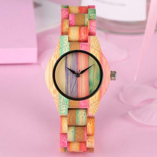 PLUIEX Wooden watch Colorful Wood Watch for Women Unique Fashion Slim Candy Color Bamboo Wood Bracelet Quartz Ladies Dress Extraordinary Wristwatch