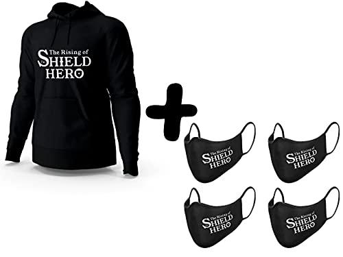 Kit Moletom Blusa e 4 Mascaras The Rising of The Shield Hero Preto Tamanho:M