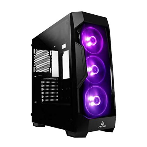 Antec Dark Fleet Series DF500 RGB Mid-Tower PC/Gaming Computer Case with GRB Lighting, RGB Fans x 3 Pre-Installed, Tempered Glass Side Panel, 380mm Max Graphics Cards, 6 SSD for ATX, M-ATX and ITX