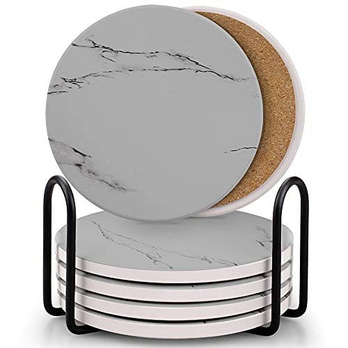 Coasters for Drinks, Absorbent Ceramic Stone...