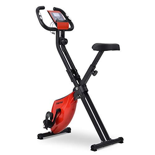 Belissy Cardio - Bicicleta estática, plegable, con asiento acolchado y consola LCD, para interior y cardio, color rojo