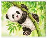 DIY Pintar por números Peinture décorative pour enfants de dessin animé animal bambou vert panda pintar por numeros para adultos Con pincel y pintura acrílica pintura por núme40x50cm(Sin marco)