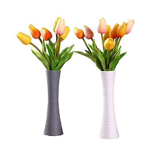 ComSaf 20cm Matte Blumenvasen Keramik Hoch, Schmale Tischvasen, Anthrazit und Weiß 2er-Set