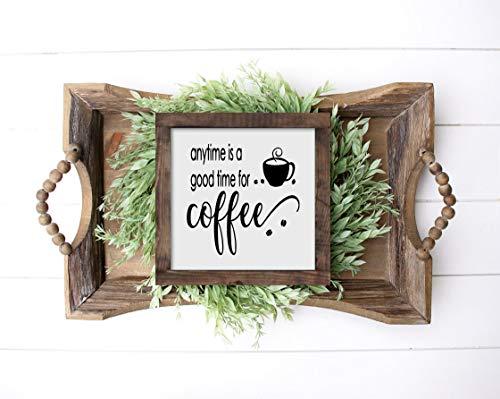 Odeletqweenry 12 x 12 inch frame houten bord, houten ingelijste teken houten borden altijd is een goed moment voor koffie hout teken koffie bar teken koffie liefhebbers geschenk keuken borden
