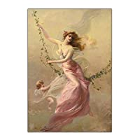 Citon EdouardBisson《スイング》キャンバス油絵有名なアートワークポスター画像モダンな壁の装飾家のリビングルームの装飾-60x100cmx1フレームなし