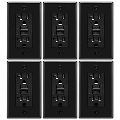 6 Pack - ELECTECK 20A/125V GFCI Outlet, 5-20R GFI Receptacle, Tamper Resistant Ground Fault Circuit Interrupter, Decorative Wall Plate Included, ETL Listed, Black