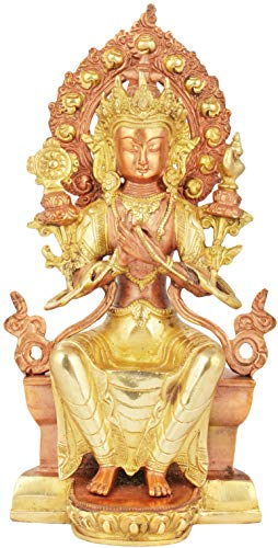 Exotic India Tibetan Buddhist Maitreya Buddha - The Only Deity Seated with His Legs Down - Brass Statue - Color Copper Gold Color