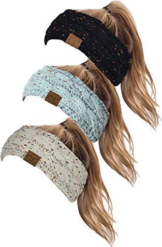 HW-6033-3-065467 Headwrap Bundle: Confetti Black, Conf. Mint, Oatmeal (3 Pack)