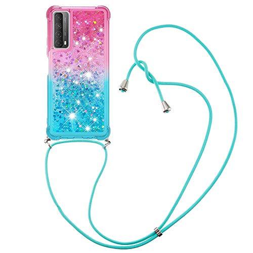 YMCASE Handykette Hülle für Huawei P Smart 2021, Smartphone Necklace Glitzer Transparent Silikonhülle mit Band - Handyhülle Case mit Stylische Kette zum umhängen, Pink und Blau