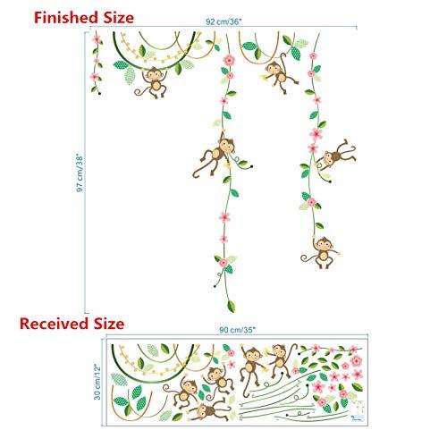CYACC Cheeky Monkeys Escalade Arbre Fleur DIY Hauteur Mesure Stickers muraux décoratif Animal décor à la Maison pour Enfants Chambre bébé décalque @ B_Tree