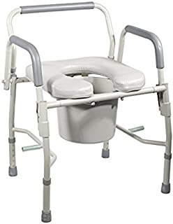 Drop Arm Bedside Commode by HEALTHLINE,Bedside Commode with Drop-Arm and Safety Frame, Wide Commode Toilet Chair for Elderly
