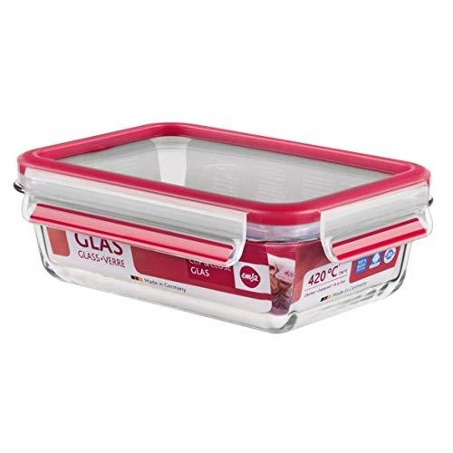 Emsa 516244 Frischhaltedose mit Deckel, Glas, Rechteckig, Volumen 0,7 Liter, Transparent/Rot, Clip & Close