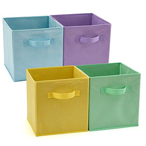 EZOWare Caja de Almacenaje con 4 pcs, Set de 4 Cajas de juguetes, Caja de Tela para Almacenaje, 26,7 x 26,7 x 28 cm (Colores variados)