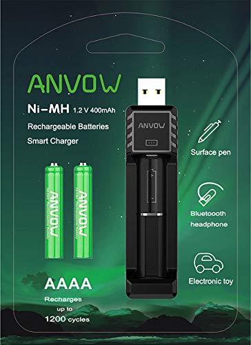ANVOW Smart AAAA-Ladegerät mit 2 Stück Wiederaufladbare AAAA-Batterien - NI-MH 1,2 V 400 mAh 1200 Zyklen Surface Pen Active Stylus Akkus