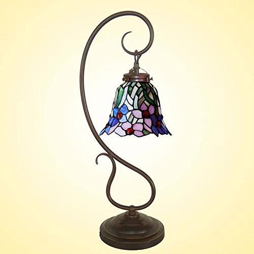 BEAR&MH 9-Zoll Tiffany Stil Tischlicht, europäische Vintage-Orchideen-Fragekennzeilchen mit Metallsockel und Buntglas, Schlafzimmer Kaffee-Tisch Wohnzimmer Schreibtisch Nachttischlampe