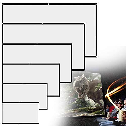 Pantalla Proyección,16: 9 HD 4K Portátil Plegable Blanca Pantalla de Proyector Compatible con ángulo Visión 160 Grados para Exteriores Interiores Escuelas Cine en Casa (72'-159cm(W) X 90CM(H))