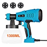 550W Paint Sprayer Tilswall HVLP Electric Paint Spray Gun with 1300ML Detachable Tank Max 1200ml/min, 3 Spray Patterns,3 Nozzle Sizes for Fence, Cabinet, Home Painting