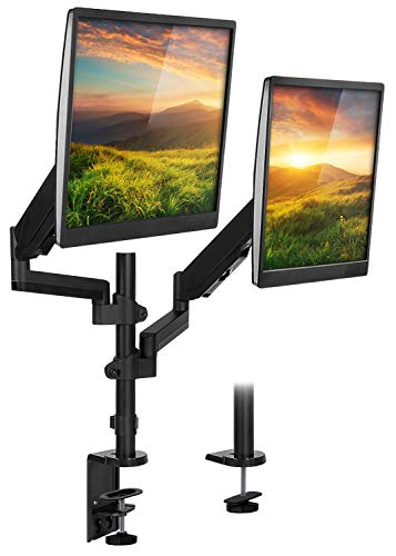 Mount-It! Monitor Arm Mount Desk Stand | Vertical Stackable Arms | Articulating Gas Springs Height Adjustable | 24 27 29 30 32 Inch VESA 75 100 Compatible Screens | Clamp and Grommet (Dual Monitor)