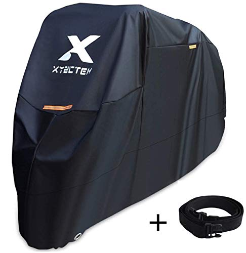 XYZCTEM Motorcycle Cover Waterproof Outdoor Storage BagMade of Heavy Duty Material Fits up to 116 inch Compatible with Harley Davison and All motorsBlackamp Lockholesamp Professional Windproof Strap