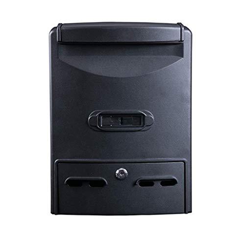 YJLGRYF Briefkasten Schwarzer Diebstahlschutz-Briefkasten Klassischer, an der Wand befestigter, wetterfester Briefkasten aus verzinktem Stahl Abschließbarer Briefkasten Briefkästen