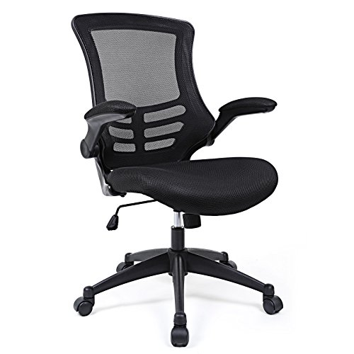SONGMICS Mesh Office Chair Desk Chair, Swivel Computer Chair with Flip up Armrests, Black OBN81BUK