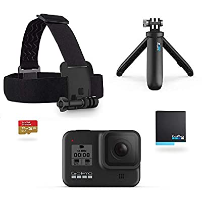 GoPro Hero8 Black Holiday Bundle - Includes Hero8 Black Camera Plus Shorty, Head Strap, 32GB SD Card, and 2 Rechargeable Batteries by GoPro Camera