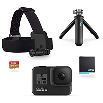 GoPro HERO8 Black Retail Bundle - Includes HERO8 Black Camera Plus Shorty Head Strap 32GB SD Card and 2 Rechargeable Batteries