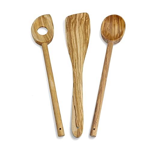 RoyalFay Juego de 3 cucharas de cocina de madera de olivo (3 piezas)