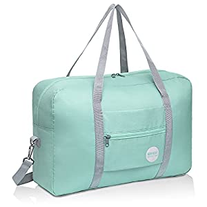 Wandf Foldable Travel Duffel Bag Luggage Sports Gym Water Resistant Nylon (D-Mint Green with Strap)