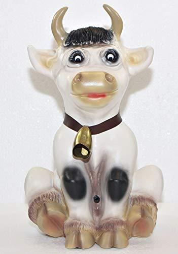 RAKSO Deko Figur Kuh Resi sitzend mit Glocke H 32 cm lustige Kuhfigur Dekofigur mit Bewegungsmelder Muuuh