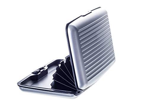 VALLET® Kreditkartenetui aus Aluminium - für Damen und Herren - blockiert RFID und NFC – für Kreditkarten Personalausweis EC-Karten - Kartenetui Kartenhülle Karten Portemonnaie Etuis – Silber