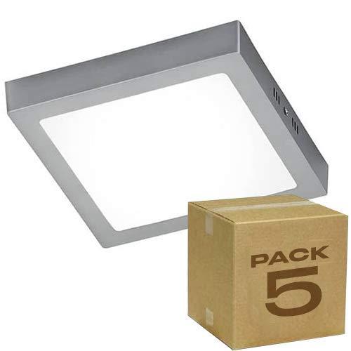 5x Plafón LED cuadrado, marco plateado iluminación 18W (1500 lm), 6000K (luz fria)