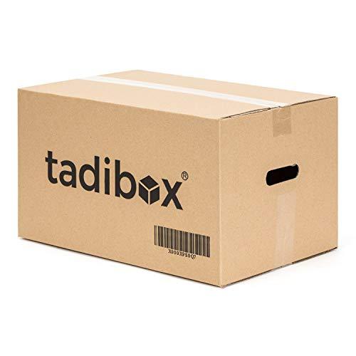 12 Cajas de Cartón para Mudanza (Talla M) con Asas - Extra Resistentes Fabricadas en España - 44x30x25cm Gramaje Ultra Resistente 450g/m2 - Combina las Cajas de Cartón Tadibox, optimiza tu mudanza!