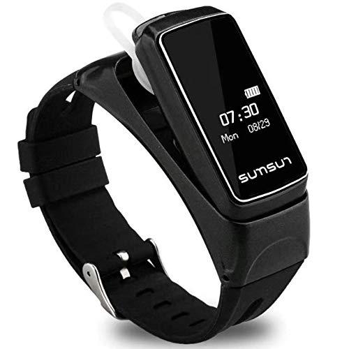 KYLN Smart Band Bluetooth Headset Armband Talkband Talk Band Herzfrequenzmesser Armband mit Musik-Player Antwort Anrufschwarz