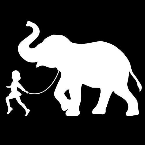 Girl Leading an Elephant Vinyl Decal Sticker Cars Trucks Vans SUVs Laptops Walls Windows Cups product image