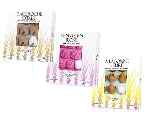 Canasuc Zollette di Zucchero di Canna Assortite: 1 x Forma Cuore, 1 x Forma Rosa, 1 x Forma Teiera - Totale 305 Grammi