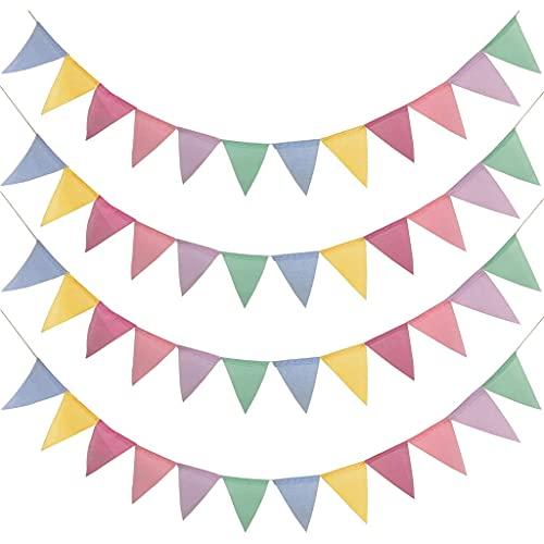 Xzbnwuviei Banderines de colores de cáñamo imitado, 4 unidades, 4 metros, 12 unidades, divertidos banderines de color arcoíris para bodas, fiestas, Navidad, cumpleaños, decoración al aire libre
