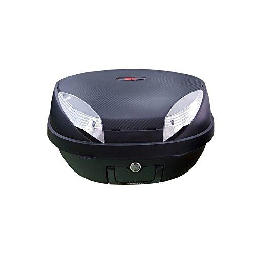 Baul Top Case para Moto. Capacidad de 48 litros para Dos Cascos y mas Accesorios. Color Negro, con Tapa Imitacion Carbono. Scooter, ciclomotor, Motocicleta, maxiscooter, ATV.