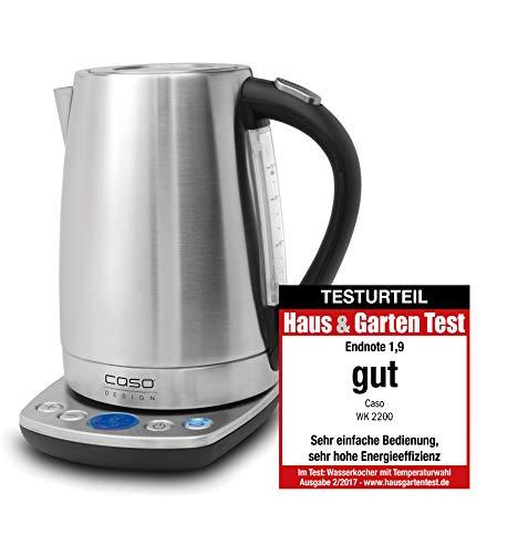 CASO WK2200, Edelstahl Wasserkocher mit Temperatureinstellung, 1.7 Liter, in 10°C Schritten von 40°C-100°C, Warmhaltefunktion