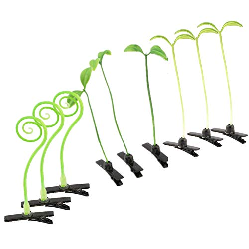 9Pcs Grass Hair Clips Bean Sprout Hairpins Cute Grass Barrette Funny Green Leaf Plant Antenna Hair Pins Cosplay Headwear Party Hair Accessories Ornaments Gift for Women Girls Kids