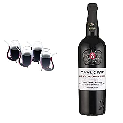 BarCraft BCPORT4PC Liqueur/Port Sippers in Gift Box, Glass, 90 ml, Set of 4 & Taylor's Late Bottled Vintage Port, 75cl